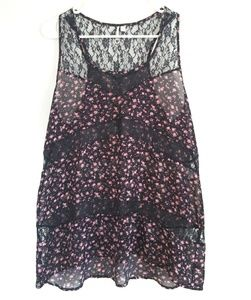Robin K. Navy High Low Floral Sheer Lace Tank